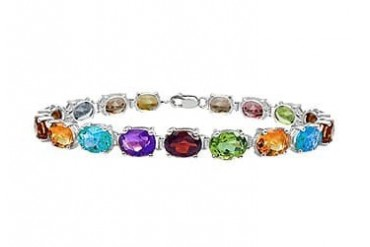 rling Silver Prong Set Oval Multi Color Gemstone Bracelet with 15.00 CT TGW