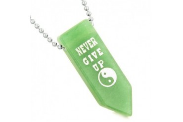 Never Give Up Amulet Balance Yin Yang Arrowhead Quartz 22 Inch Necklace