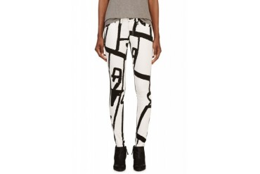 Rag And Bone White Abstract Graphic The Legging Jeans