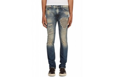 Diesel Blue Patched And Faded Thavar L.32 Jeans