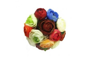 Colorful Round Satin Bridesmaid Bouquets (123040041)
