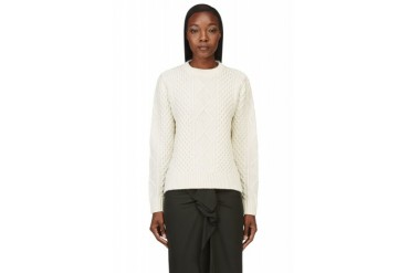 Sacai Luck Ivory And Grey Paneled Cable Knit Sweater