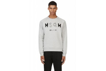 Msgm Grey Logo Sweatshirt