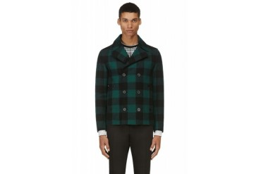 Lanvin Green Buffalo Check Wool Pea Coat