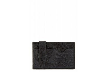 3.1 Phillip Lim Black Floral Embossed Leather Cardholder