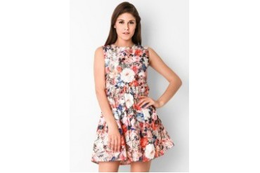 Chic Simple Sleveless Floral Print Flare Drs