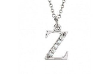 The Kelly 14K White Gold Diamond Lower Case Letter z Necklace, 16 in