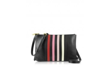 Lucien Black Striped Leather Crossbody Bag