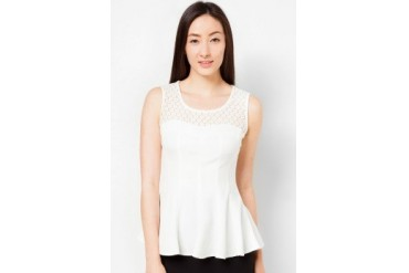 Lace Pleated Peplum Blouse