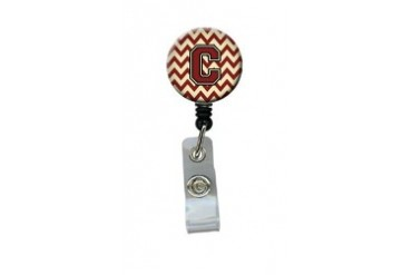 Letter C Chevron Maroon and Gold Retractable Badge Reel