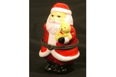 Santa Claus Holding Teddy Bear Trinket Box phb