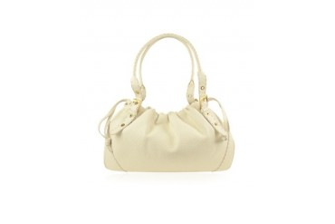 Ivory Italian Genuine Leather Drawstring Tote Bag