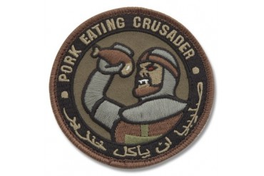 "Mil-Spec Monkey ""Pork Eating Crusader"" Patch - Forest Camo Pattern"
