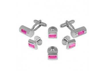 Studs - Hot Pink Elegant Silver Plated Cuff Links