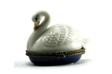 Mute White Swan Porcelain Hinged Trinket Box