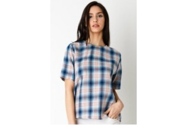 Agreetoshop Plaid Tops SS Blouse