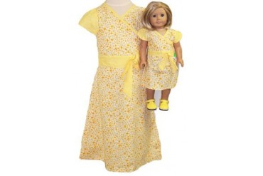 Matching Girl And Doll Clothes in a Yellow Dress Size 4