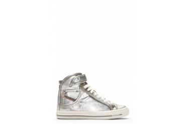 Diesel Ailver Leather Net Met Volcanized Sneakers