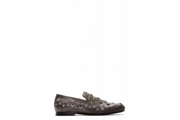 Jimmy Choo Grey Star studded Sloane Loafers