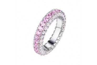 White Gold Plated 3 Row Eternity Band Ring - Pink White