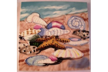 Tropical Beach Starfish Shells 6x6 Ceramic Tile