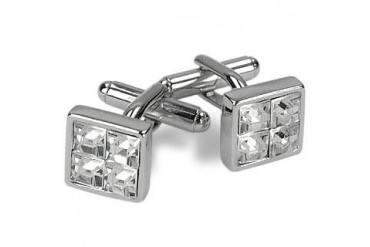 Silver Plated Jeweled Cufflinks