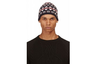 Dsquared2 Navy And White Geometric Beanie