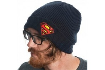 DC Comics Superman Logo Ribbed Cuff Embroidered Beanie