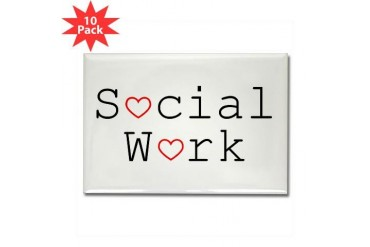 Social Work Hearts Rectangle Magnets 10 pack Health Rectangle Magnet 10 pack by CafePress