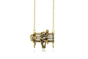 Gold Plated Brass Bench with Lovers Long Necklace