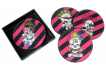 2 Sets Of 4 Ed Hardy PUNKED Skull Leather Coasters