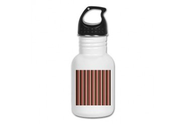 Red Gray Brown Stripes Holiday Kid's Water Bottle by CafePress