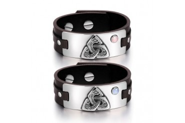 Celtic Triquetra Love Couples PSky Blue Cats Eye Brown Leather Bracelets