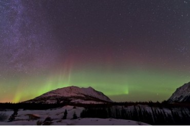 Aurora borealis and Milky Way over Carcross, Yukon, Canada.