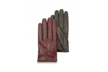 Two Tone Fur-Lined Leather Gloves
