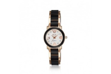 Rose Gold Plated Onyx Lining Petite Watch