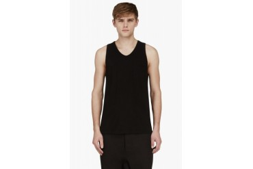 T By Alexander Wang Black Jersey Pocket Tank Top