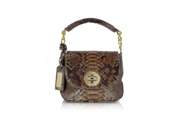 Mini Brown Python Leather Shoulder Bag