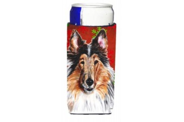 Collie Red Snowflakes Holiday Ultra Beverage Insulators for slim cans