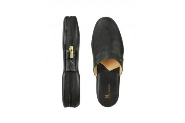 Amerigo - Black Calf Leather Travel Slippers w/Case