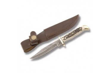 "Fox-N-Hound 7-3/8"" Damascus Dakota Skinner with Genuine Stag Handle"