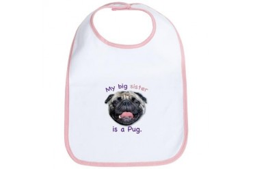 My big sister is a fawn Pug Pets Bib by CafePress