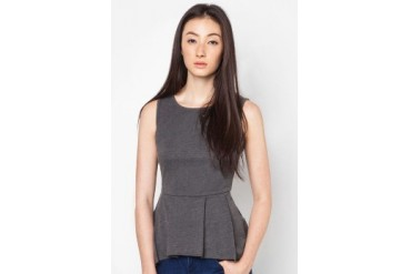 EZRA BASICS by ZALORA Sleeveless Peplum Top