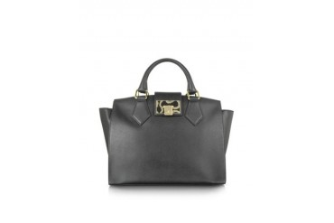 Black Opio Saffiano Leather Satchel