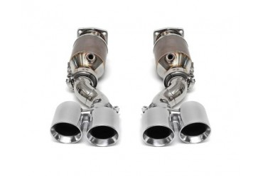 Fabspeed Muffler Bypass Exhaust System with Sport Cats Black Tips Porsche 997 Turbo 07-09