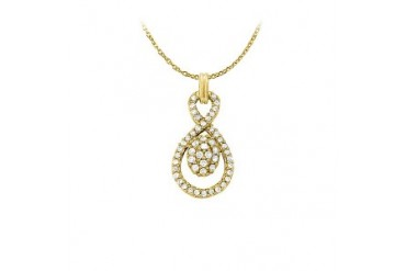 y Cubic Zirconia Pendant in 18K Yellow Gold Vermeil with Free 16 Inch Chain