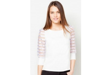 TLA Striped Long-Sleeved Chiffon Top