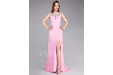 A-Line/Princess Scoop Neck Sweep Train Chiffon Tulle Prom Dress With Beading Split Front (017041118)