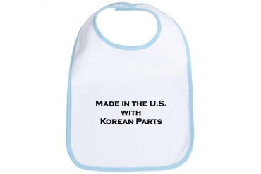 Made in the U.S. with Korean Parts Baby Bib by CafePress