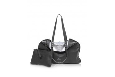 Montaigne Black and Silver Reversible Leather Tote